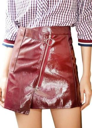 ✅ лаковая мини юбка косуха эффект запаха 2 цвета