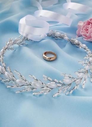 Свадебный веночек на голову для невесты / веточка из бусин