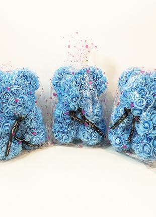 Лучший подарок: мишка из искусственных 3D роз 25 см. Цвет: гол...