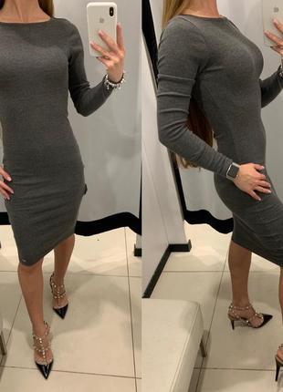 Серое платье в рубчик платье mohito есть размеры