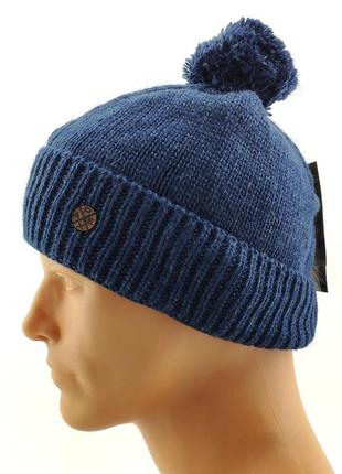 Мужская вязаная шапка синяя