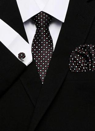 Набор подарочный мужчине галстук краватка запонки и платок чол...