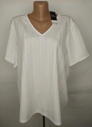 Блуза новая белая красивенная v-образный вырез uk 16/44/xl