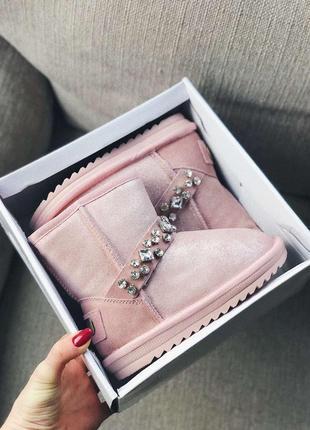 Распродажа детские угги  розовые с браслетами 30-33