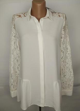 Блуза красивая с кружевными плечами спинкой с баской uk 8/36/xs