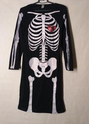 Платье скелет череп на хэллоуин