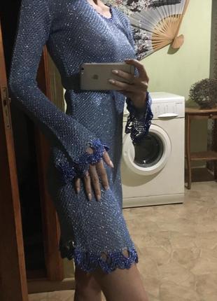 Платье миди/ туника/ кофта удлинённая люрекс металлическая нит...