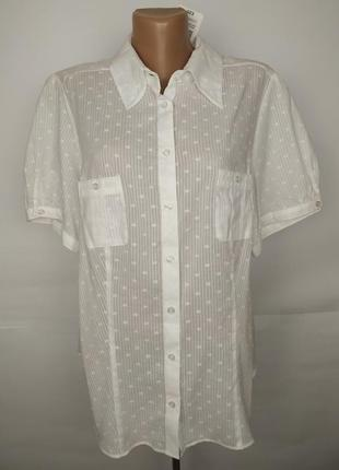 Блуза рубашка новая хлопковая белая легкая большой размер mark...