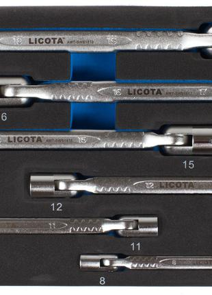 Набор ключей торцевых карданных 8 - 19 мм, 6 пр., ложемент EVA...