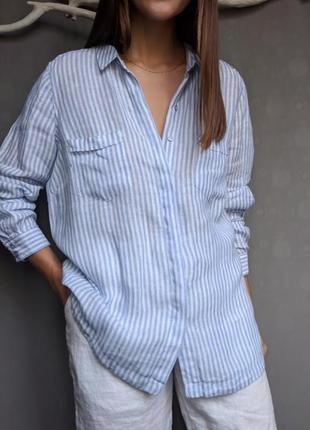 Рубашка в полоску льняная 100% лён размер 16 m&s