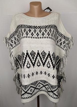 Кофта свитер новая стильная бахрома орнамент плотная new look ...