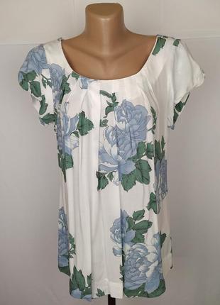 Блуза натуральная стильная в принт вискоза uk 10/38/s