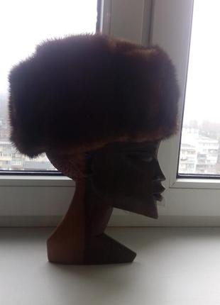 Зимняя шапка из натурального меха ондатры/нутрии