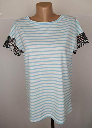 Блуза голубая красивая в полоску с тигром uk 10/38/s
