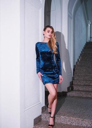 Вечернее бархатное платье мини