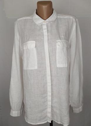 Блуза рубаха белая льнянаня autograph uk 16/44/xl