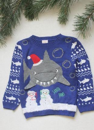 Детский новогодний свитер с акулой от george (91), 3-4 года