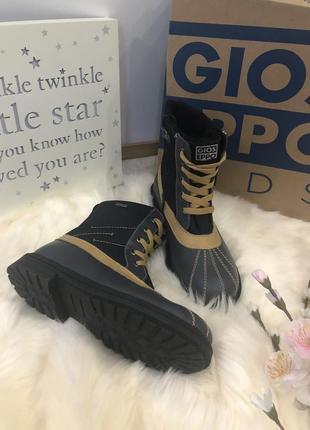 Демисезонные кожаные ботинки для мальчика, кожаные сапоги,