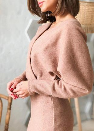Теплое трикотажное платье на осень и зиму