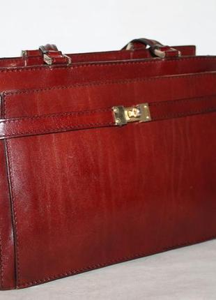 Лаконичная кожаная сумка винтаж 100% натуральная кожа