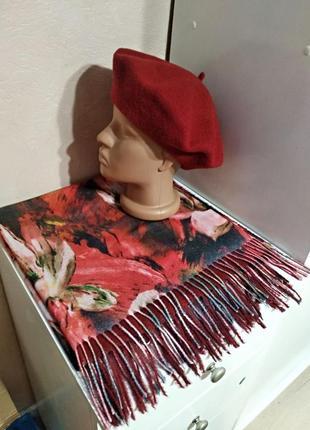 Комплект чешский фетровый берет tonak и разноцветный шарф пала...