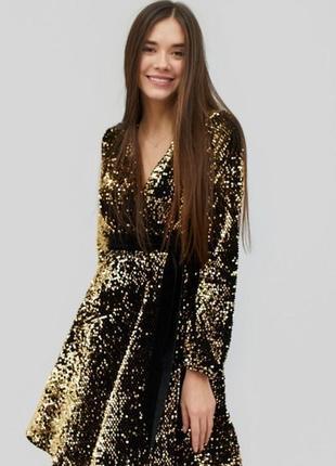 Платье пышное нардяное на запах новогоднее черное золото cardo