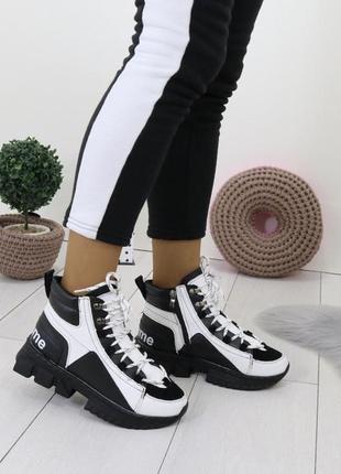 Новые шикарные женские зимние черно-белые кроссовки