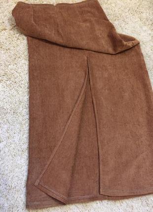 Вельветовая длинная юбка в пол с разрезом