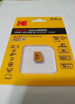 Карта пам`яті Kodak 64Gb.  Micro SD