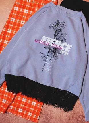 Тотальная распродажа! свитшот лилового цвета с кружевом