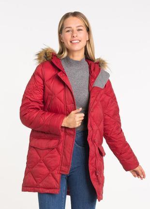 Новая женская демисезонная тёплая красная куртка с капюшоном
