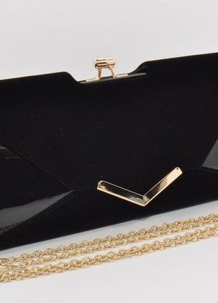 Вечерний клатч черный велюр/лак, сумочка rose heart 002, расцв...
