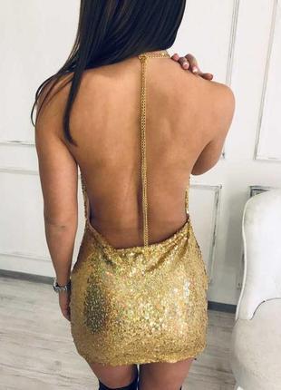 Платье блестящее с открытой спиной