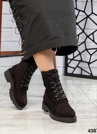 ❤ женские черные зимние  ботинки сапоги ботильоны на шерсти ❤