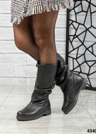 ❤ женские черные осенние деми  кожаные ботинки сапоги ботильон...