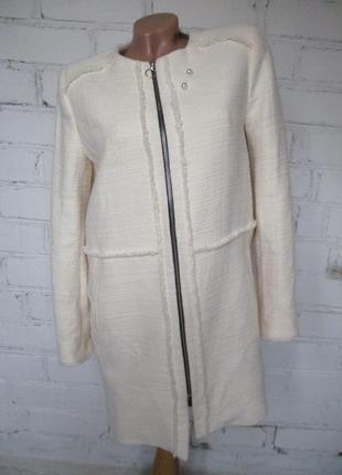 Пальто/жакет твидовый хлопковый молочного цвета/твид/s-l