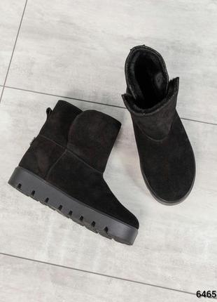 ❤ женские черные зимние замшевые угги  ботинки сапоги ботильон...