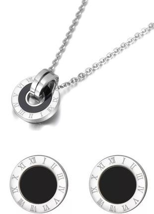 Женский комплект украшений / набор бижутерии серебристой с кла...