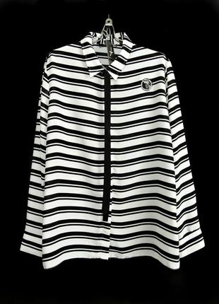 Черно-белая блуза с полоску с контрастным галстуком р.18