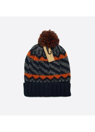 Medicine / новая вязаная шапка с помпоном в узор, тёплая