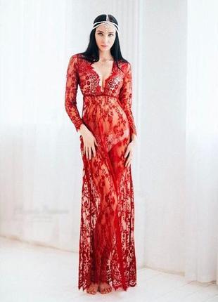 Бордовое кружевное платье/пеньюар для фотосессии