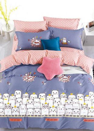 Комплект постельного белья с простынью на резинке двуспальный-...