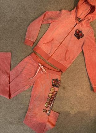 Красивый коралловый велюровый спортивный костюм 🧡