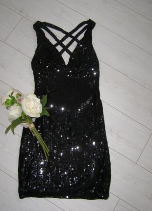 Шикарное актуальное платье с пайетками s-m-размер
