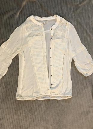 Женская тонкая белая блузка рубашка