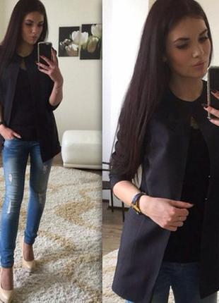 Кардиган пиджак с карманами l