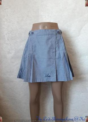 Фирменная lotto шикарная мини юбка на запах плиссе в мелкую го...