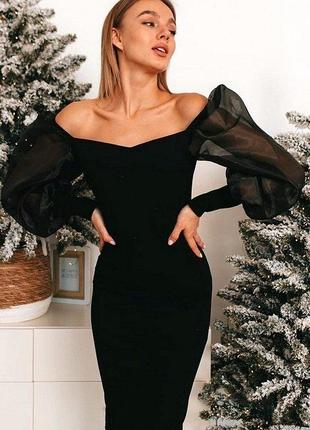 Силуетное платье миди органза рукава фонарики пудра