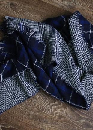 Огромный шикарный двухсторонний тёплый шарф - плед в клетку h&m