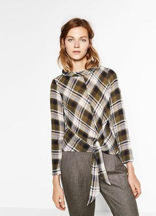 Zara блуза в клетку с завязкой спереди